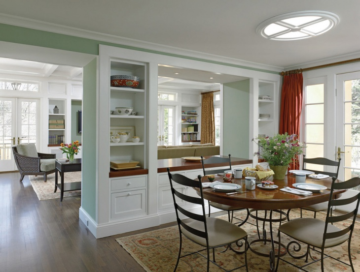 Dining Room White Shelves Design