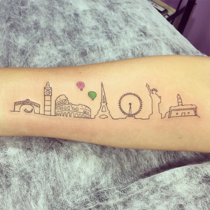 American Skyline City Tattoo