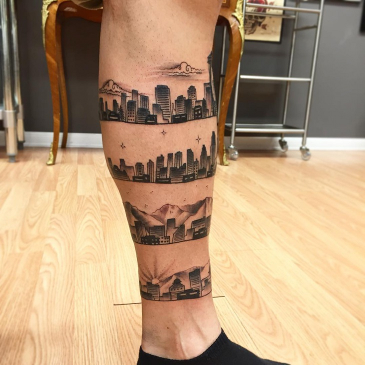 Skyline Tattoo on Leg