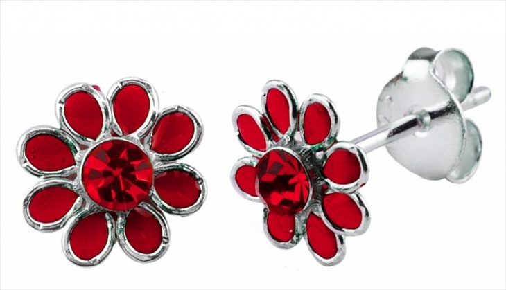 Garnet Flower Earrings