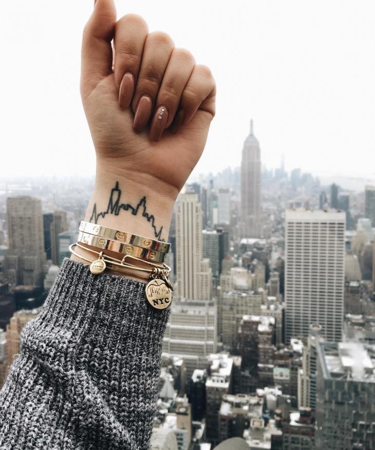 skyline city tattoo on wrist