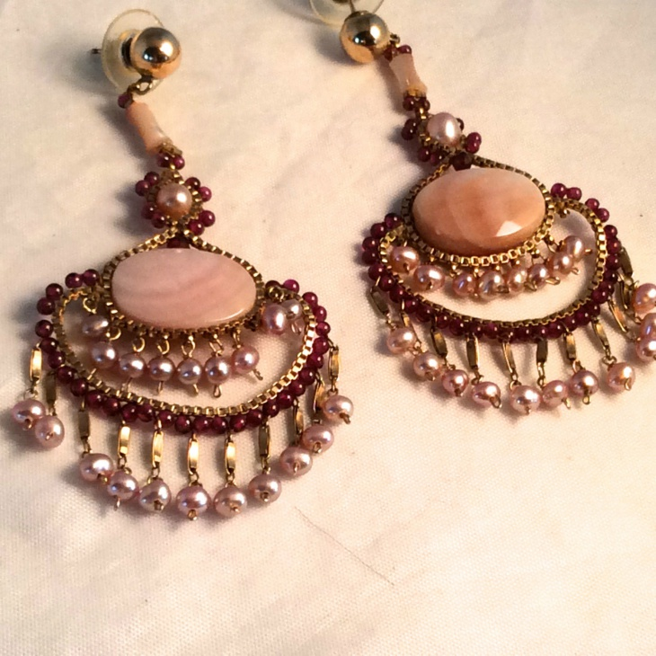 Gold Beaded Garnet Earrings