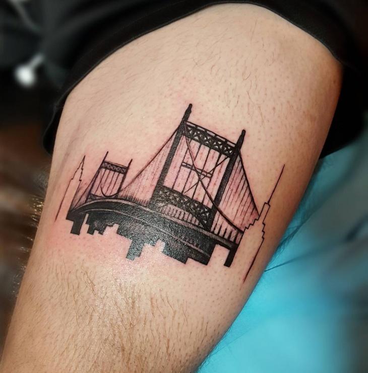modern skyline tattoo idea