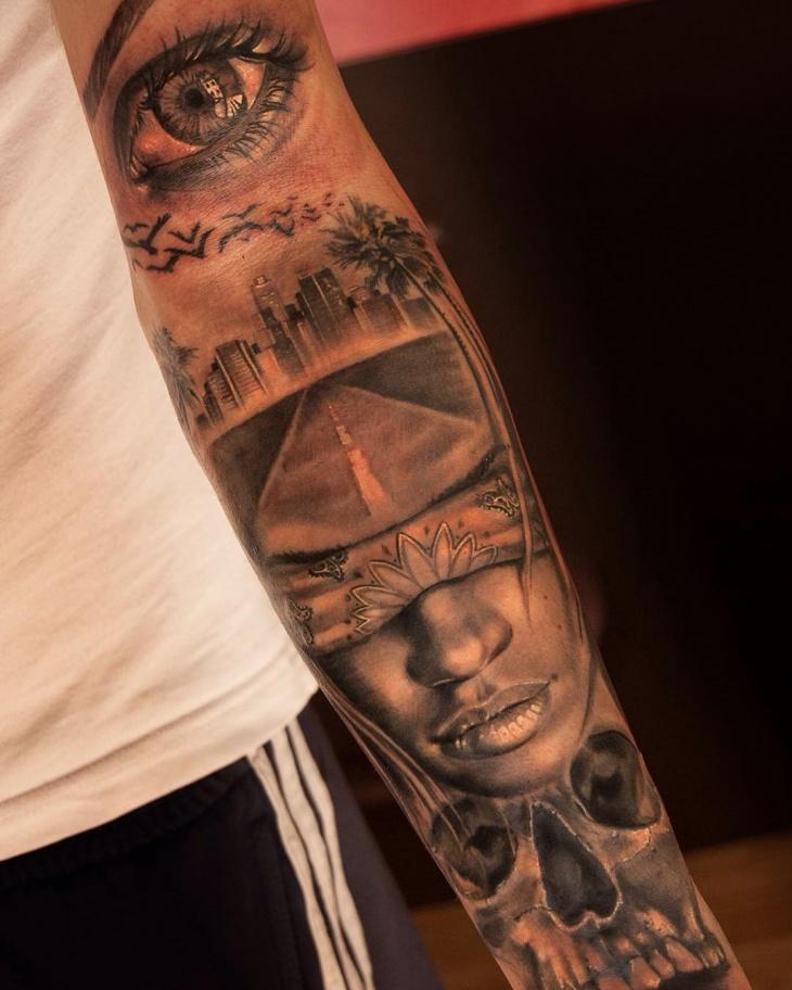 Full Sleeve Skyline Tattoo