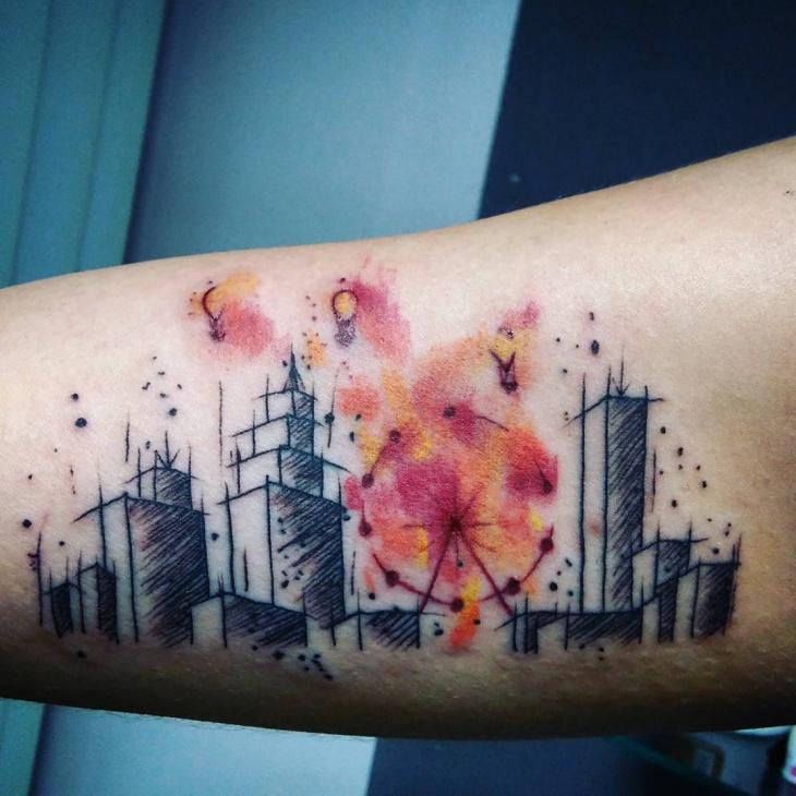 Colorful Skyline Tattoo Idea