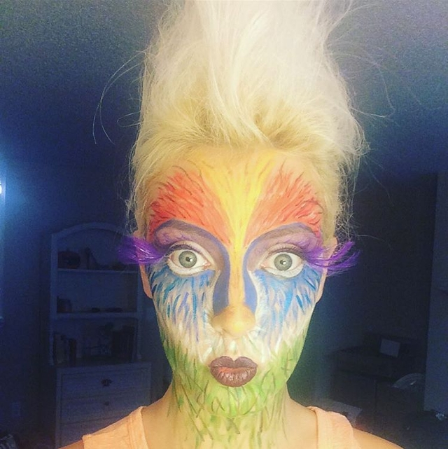 vibrant parrot inspired makeup