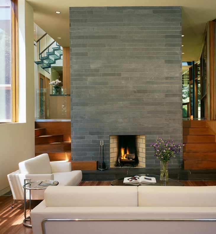 Fireplace Stone Tiles Design