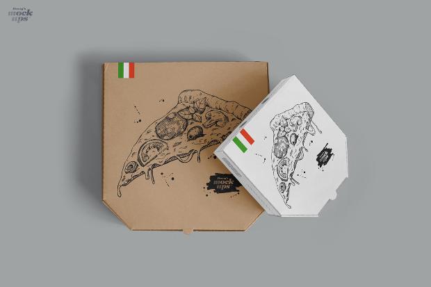 custom pizza box mockup