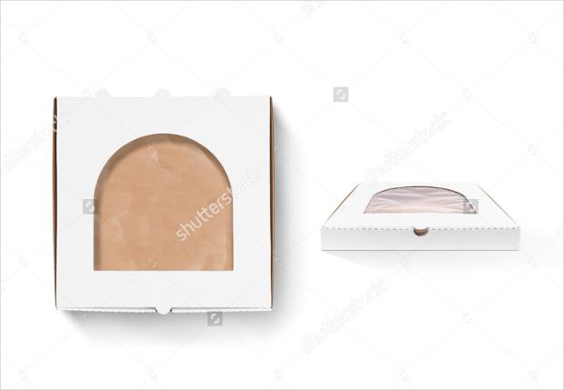 pizza box design mockup with foil window
