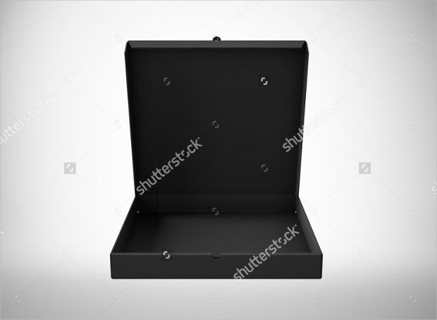 black open pizza paper box mockup