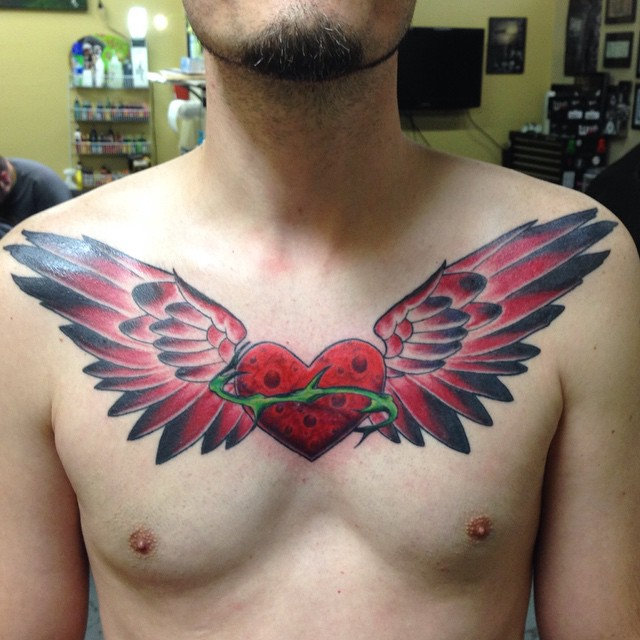 Heart Wings Tattoo on Chest