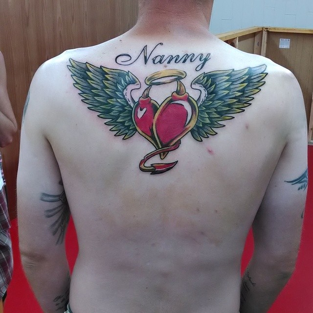 Double Heart with Wings Tattoo
