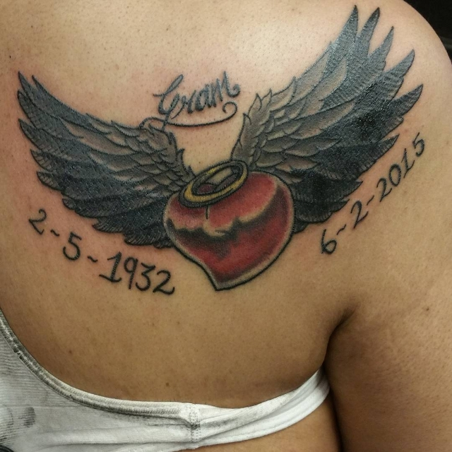 Heart with Wings Tattoo for Shoulder