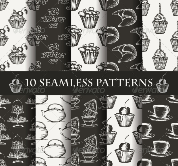 black and white cake seamless pattern set