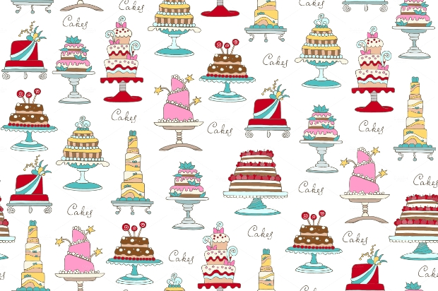 hand drawn cakes pattern