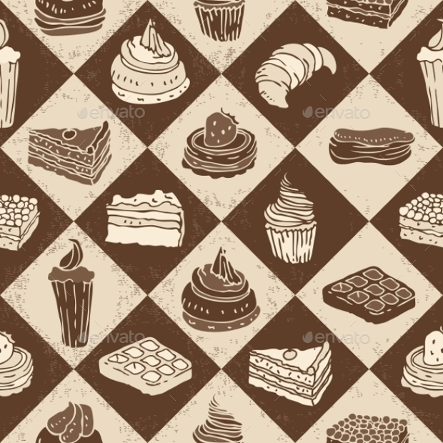 brown cake seamless pattern