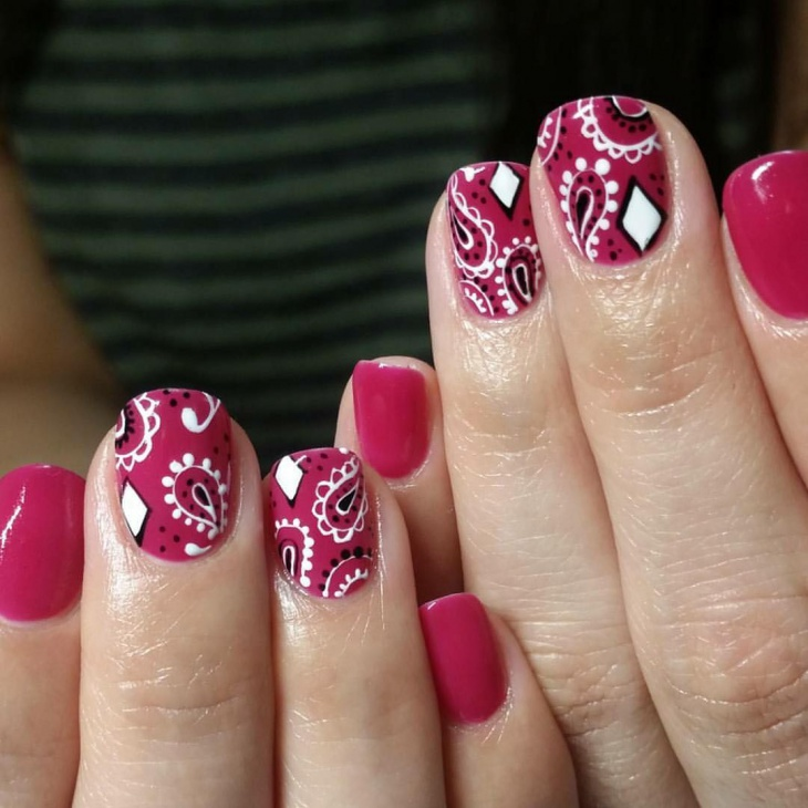 bandana print nail design