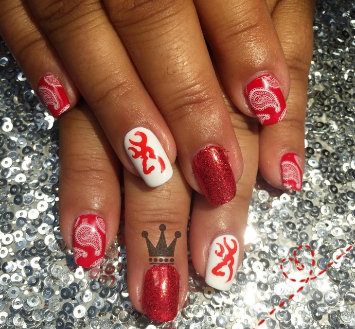 red bandana nail design idea