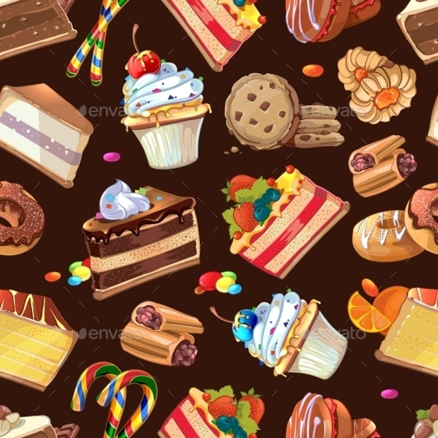 candy and cake seamless pattern