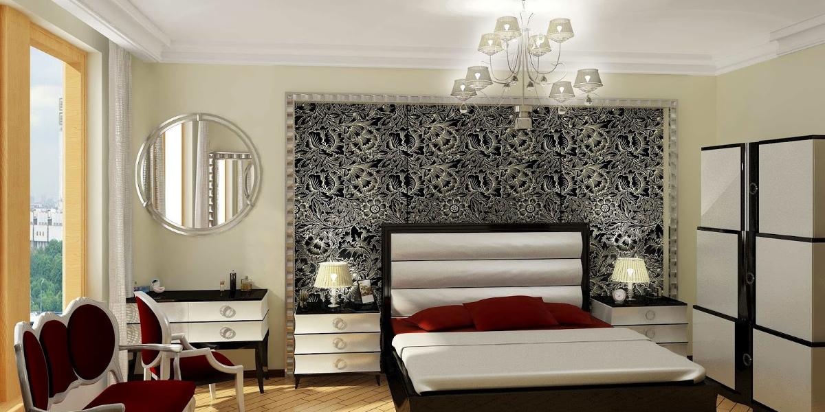 bedroom patterned wallpaper