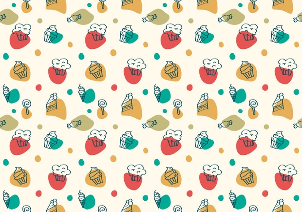 free cake and desert vector pattern