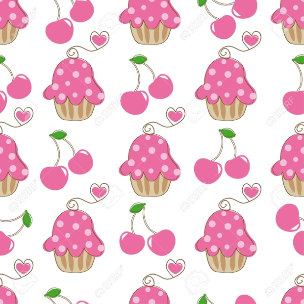 retro cupcake seamless pattern