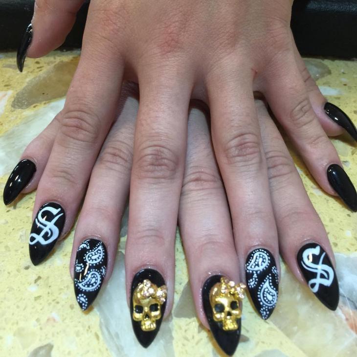 Skull Bandana Nail Art