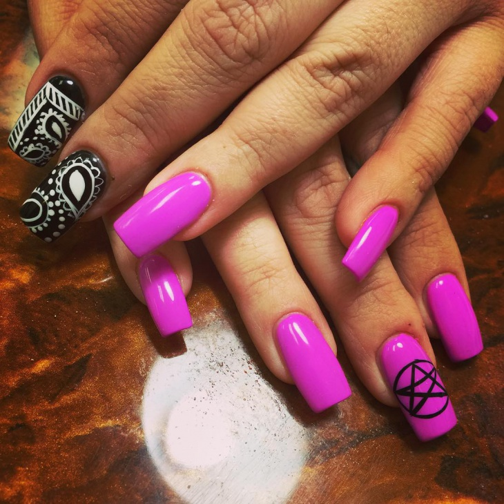 pink and black bandana nails
