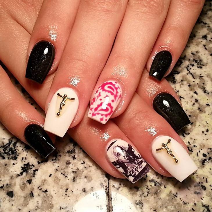 christamas bandana nail design