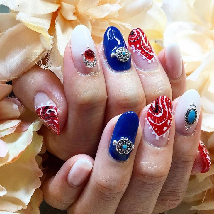 Rhinestone Bandana Nail Art