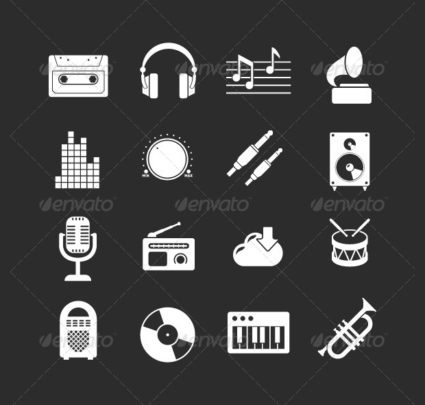 black and white sound and music icons