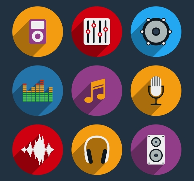 multicolor flat music and sound icons set