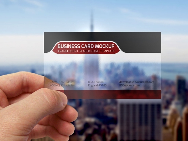 transparent business card mockup