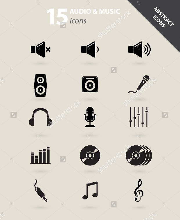 abstract audio and music icons