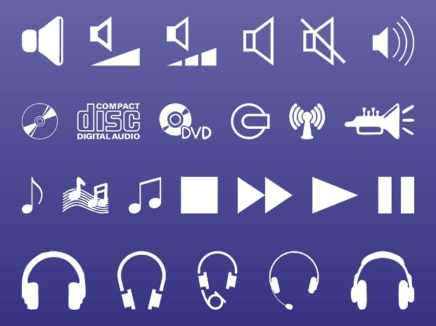 high resolution sound and music icons