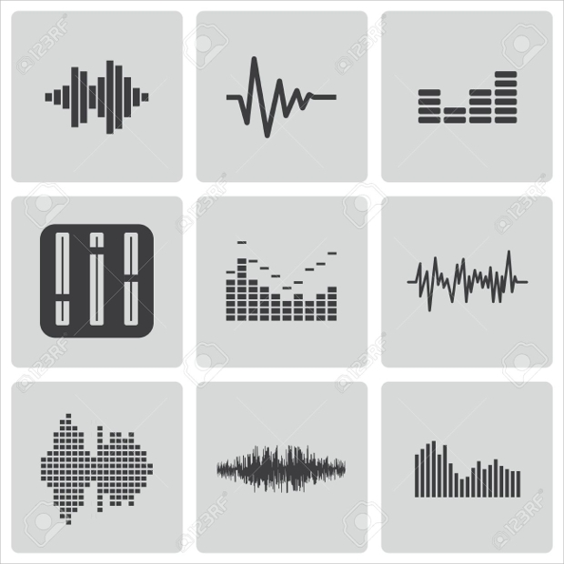 black music sound wave icons