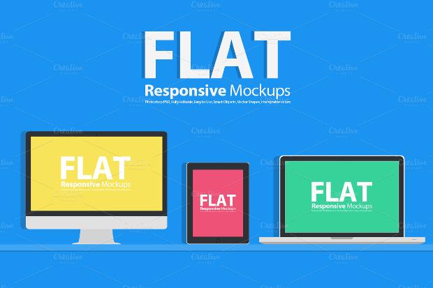 flat responsive mockup design