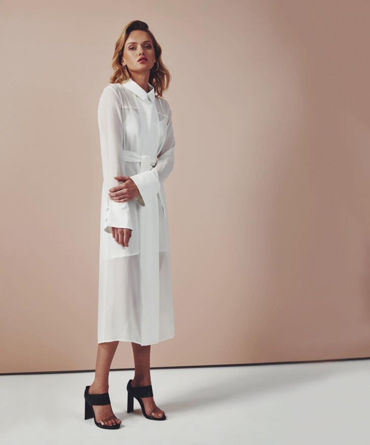 cool white trench dress