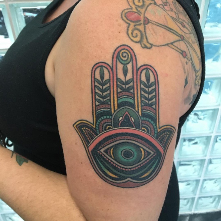 Hamsa Tattoo on Sleeve