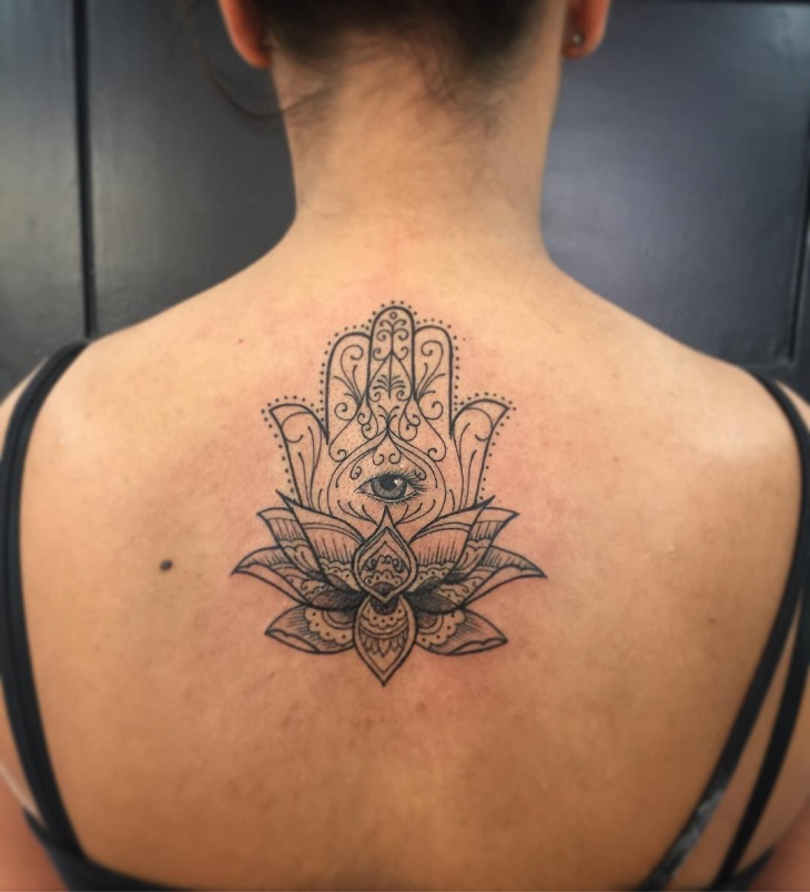 Hamsa Back Tattoo Idea