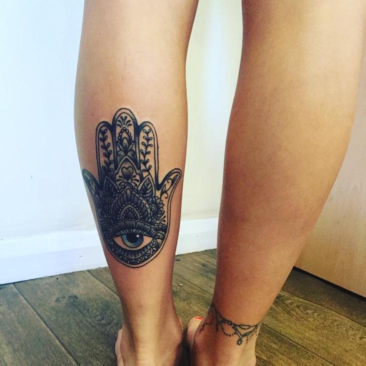 Hamsa Leg Tattoo Design