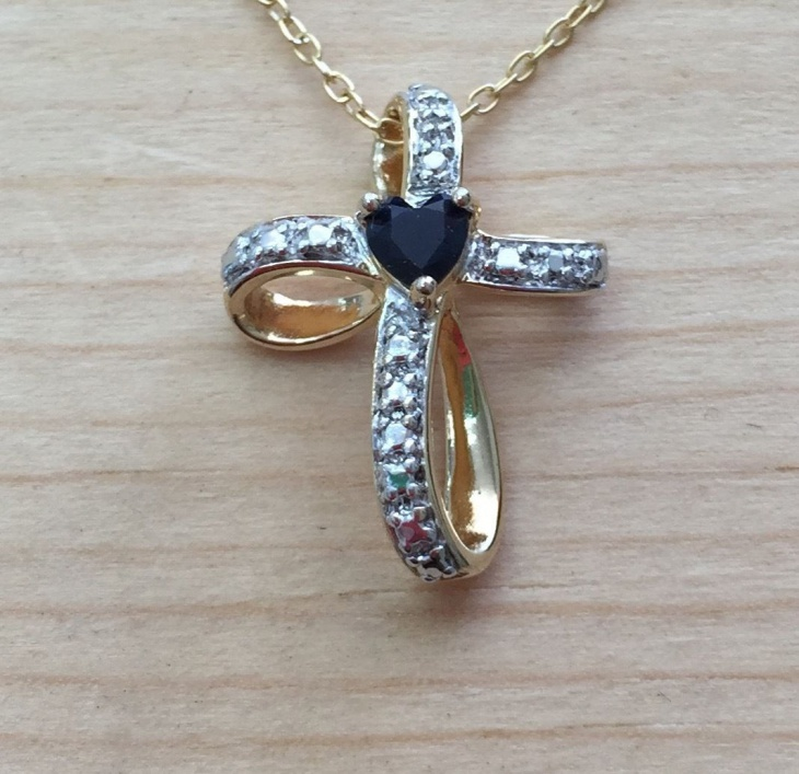 sapphire cross necklace