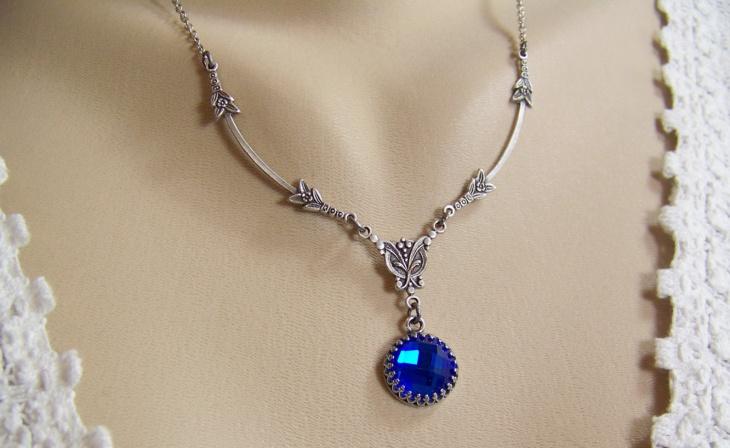Deep Blue Sapphire Necklace