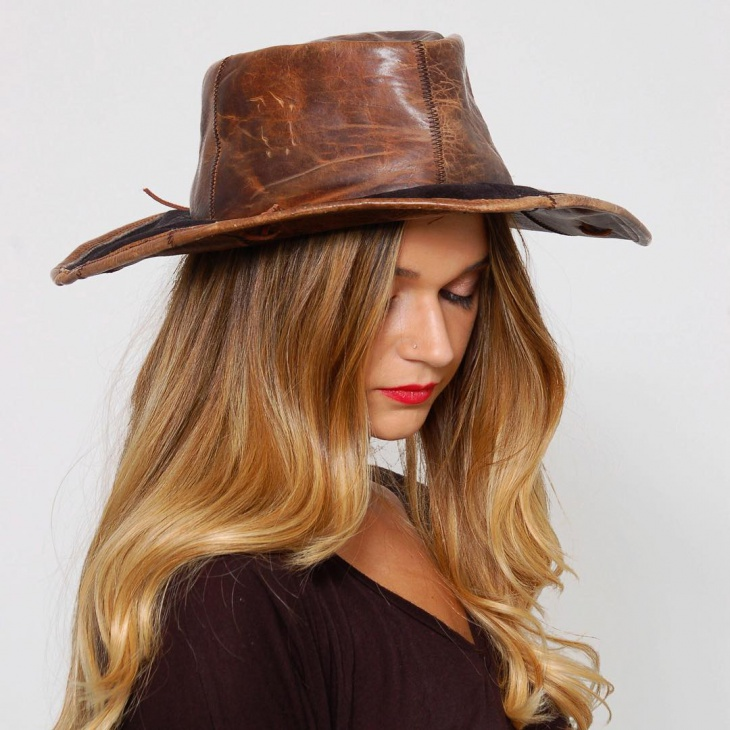 leather hippie hat