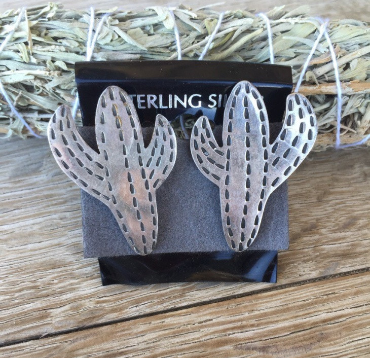 Silver Cactus Earrings Design