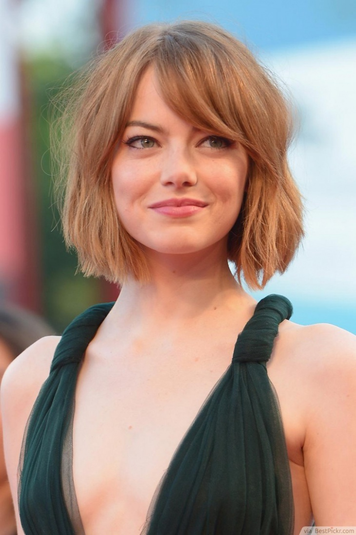 Emma Stone Side Swept Short Hairstyle for Long Face