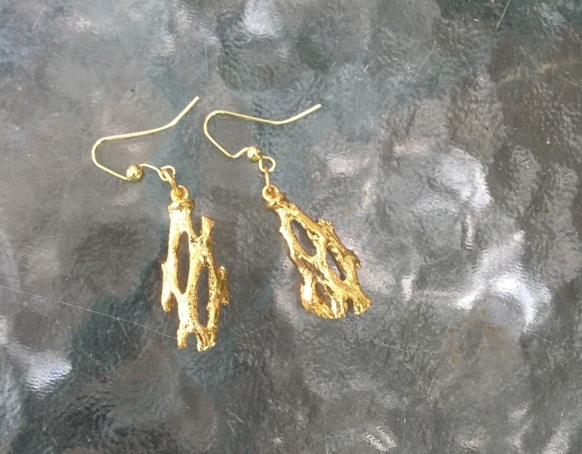 Gold Cholla Cactus Earrings