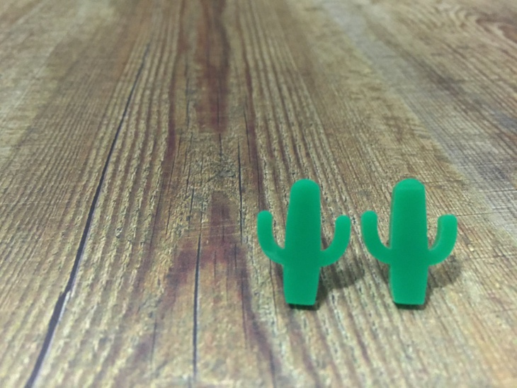 Tiny Green Cactus Stud Earrings
