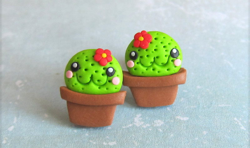 Polymer Clay Cactus Earrings
