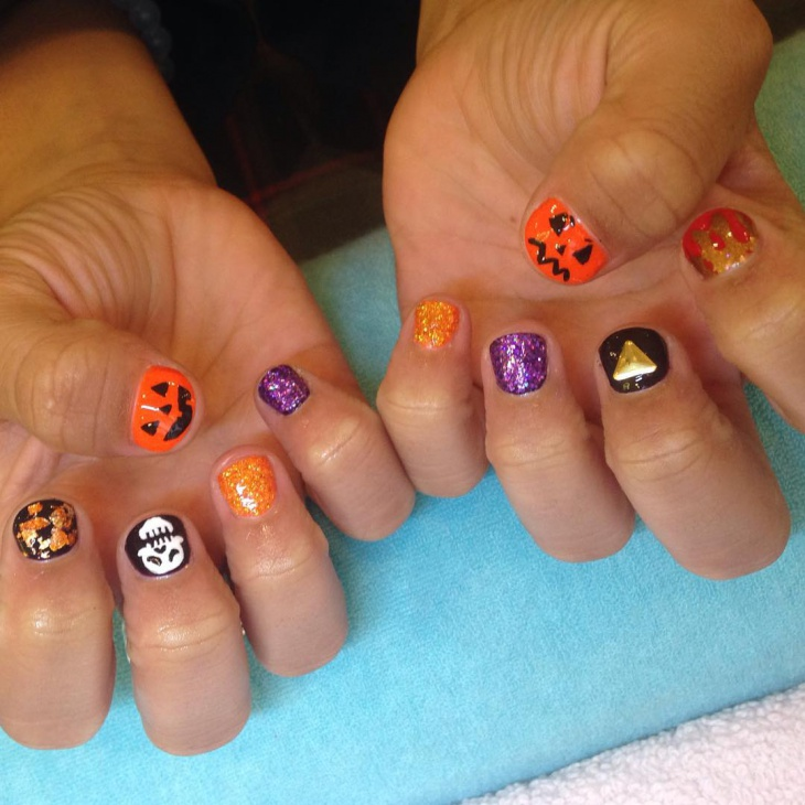 pumpkin face nail art